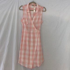 Pink plaid sleeveless dress
